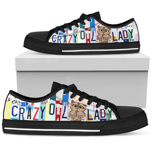 Crazy Owl Lady Low Top Shoes - Love Family & Home