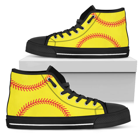 Image of Softball Print Ladies High Top - Love Family & Home