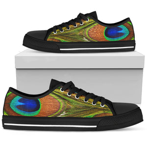 Peacock Print Shoes | Women's Low Top Shoe - Love Family & Home