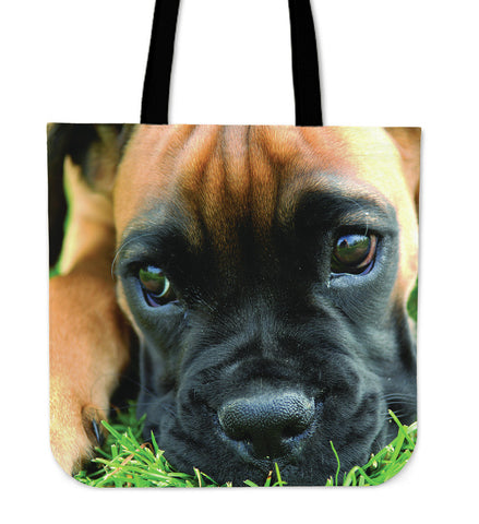 "Image of Boxer Puppy 16"" Tote Bag - Love Family & Home"