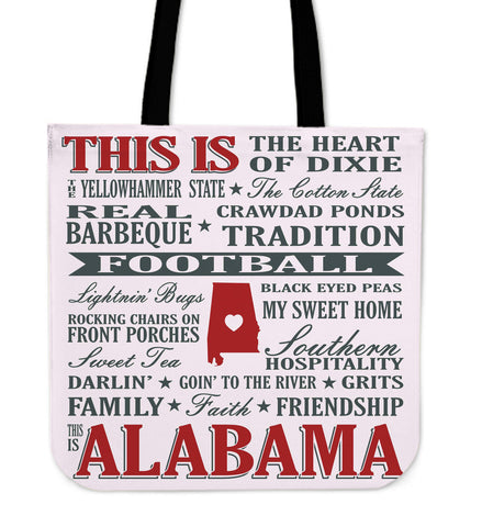 "Image of Alabama Sayings 16"" Tote Bag - Love Family & Home"
