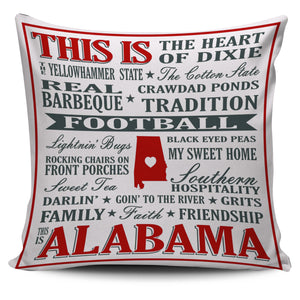 "Alabama Sayings 18"" Pillow Cover - Love Family & Home"