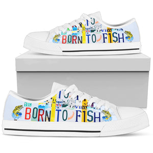 Born To Fish Men's Low Top Canvas Shoes - Love Family & Home