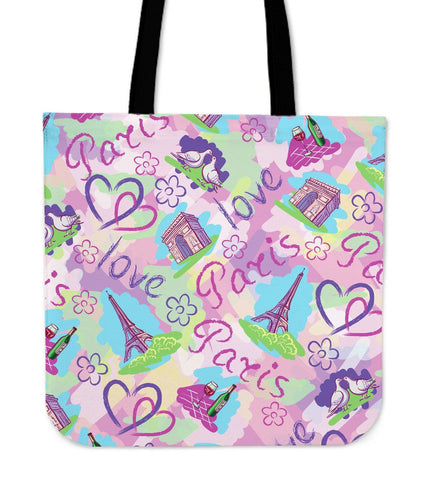 "Image of Paris France Style 16"" Tote Bag - Love Family & Home"