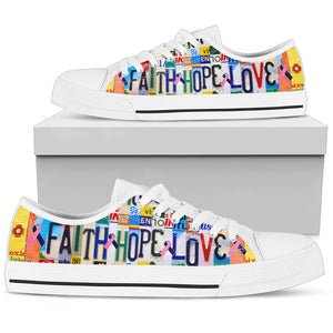 Faith Hope Love Thyroid Cancer Low Top Shoes - Love Family & Home