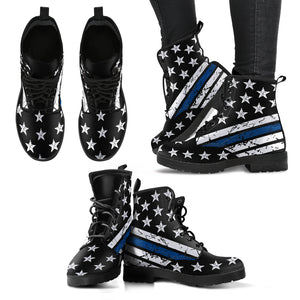 Thin Blue Line Handcrafted Boots Ladies Leather Boots - Love Family & Home