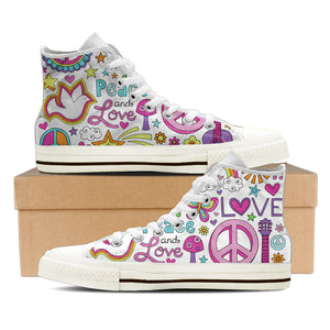 Peace & Love Women's High Top Canvas Shoes - Love Family & Home