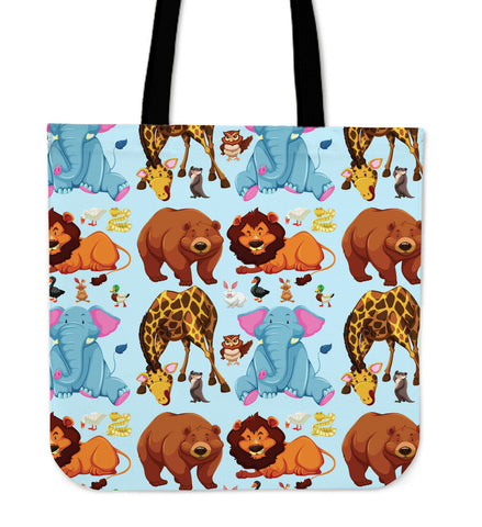 "Image of Cute Animal Print 16"" Tote Bag - Love Family & Home"