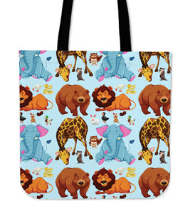"Cute Animal Print 16"" Tote Bag - Love Family & Home"