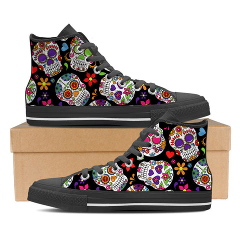 Sugar Skulls Women's High Top Canvas Shoes - Love Family & Home
