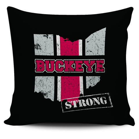 "Image of Ohio Buckeye Strong Loyalty Scarlet Grey 18"" Pillow Case - Love Family & Home"
