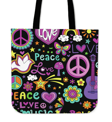 Peace Love & Music Tote Bag