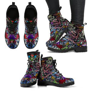 Sugar Skull Octopus Women's Handcrafted Premium Leather Boots - Love Family & Home