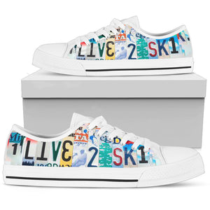 Live To Ski Low Top Shoes - Love Family & Home