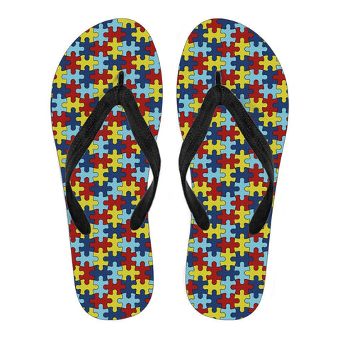 Image of Ladies Flip Flops Autism Awareness - Love Family & Home