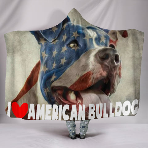 American Bulldog Hooded Blanket
