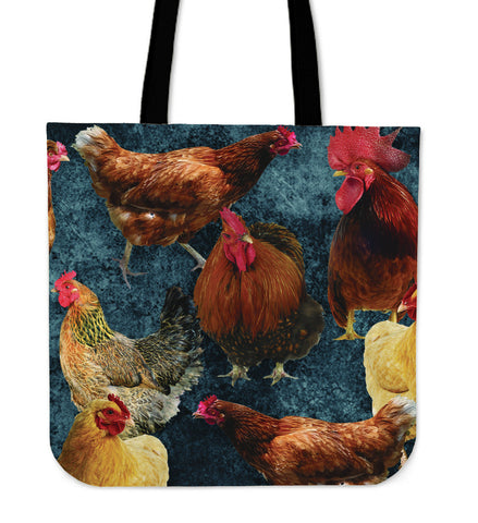 "Image of Chicken Print 16"" Tote Bag - Love Family & Home"