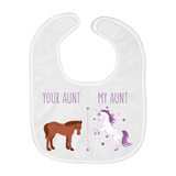Your Aunt My Aunt Horse Unicorn Funny Baby Bib For Cool Crazy Aunts!