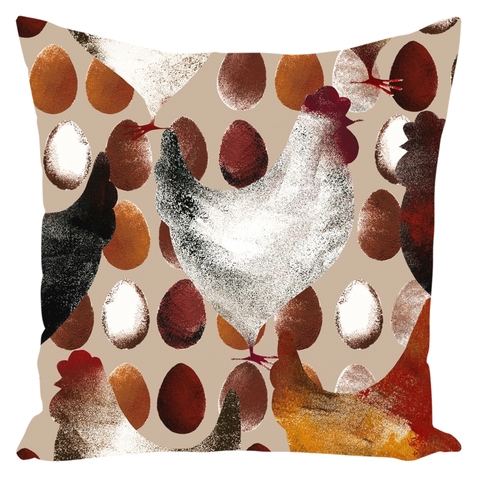 Image of Chicken And Eggs Farm Design Throw Pillow Farm Decor - Love Family & Home