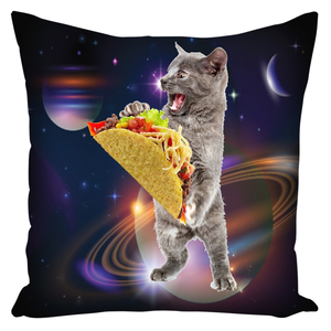 Taco Cat In Space Deluxe Throw Pillow With Insert 18 X 18 Inch - Love Family & Home