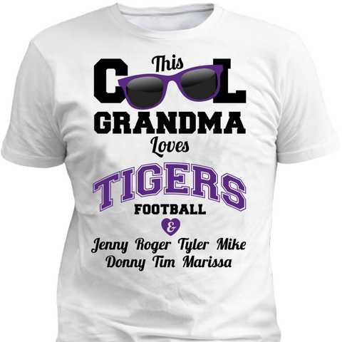 This Cool Grandma Loves Tigers Football & Personlized Names Apparel - Love Family & Home  - 1