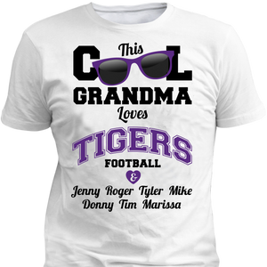 This Cool Grandma Loves Tigers Football & Personlized Names Apparel - Love Family & Home