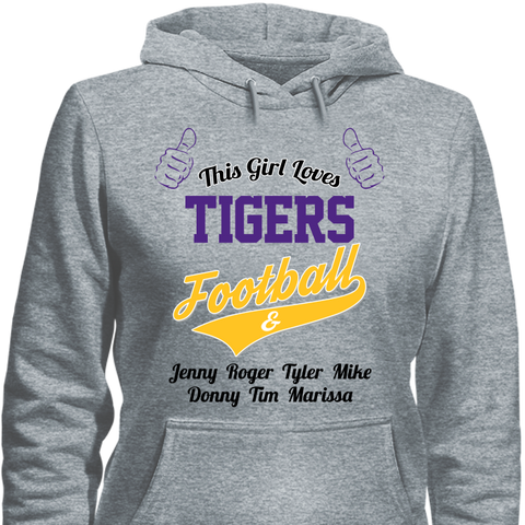 This Girl Loves Tigers Football & Personalized Names Apparel For Mom's - Love Family & Home