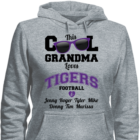 Image of This Cool Grandma Loves Tigers Football & Personlized Names Apparel - Love Family & Home