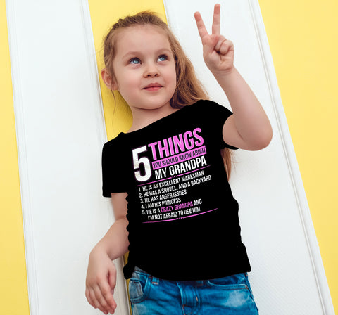 Image of 5 Things You Should Know About My Crazy Grandpa T-Shirt - Love Family & Home