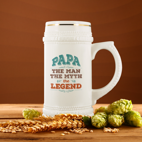 Papa The Man The Myth The Legend 22 oz Beer Stein - Love Family & Home