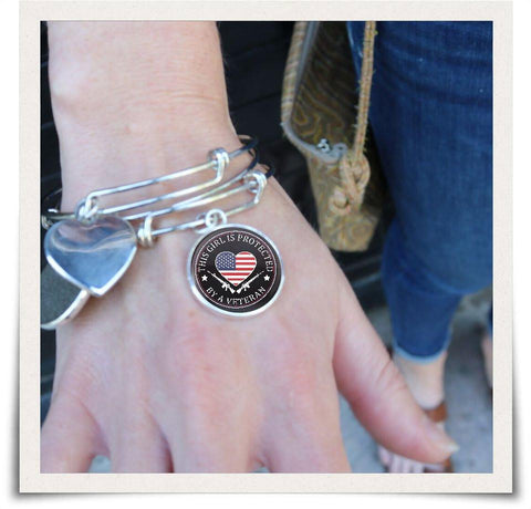 Image of This Girl Is Protected By A Veteran Bangle - Love Family & Home