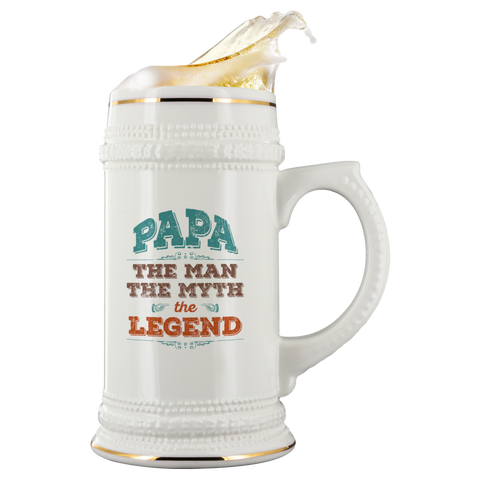 Image of Papa The Man The Myth The Legend 22 oz Beer Stein - Love Family & Home