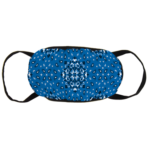 Image of Face Mask Blue Bandanna Style Design - Love Family & Home
