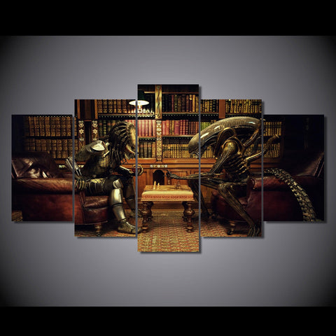 Aliens vs Predator Game Of Chess 5-Piece Wall Art Canvas