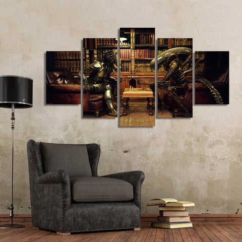 Aliens vs Predator Game Of Chess 5-Piece Wall Art Canvas - Love Family & Home