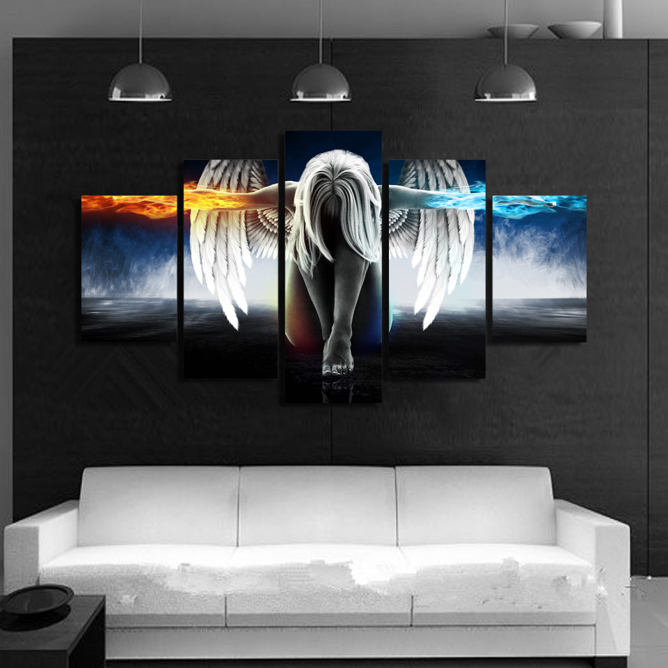 Mystic Angel Fire And Ice 5 Piece Wall Art Canvas