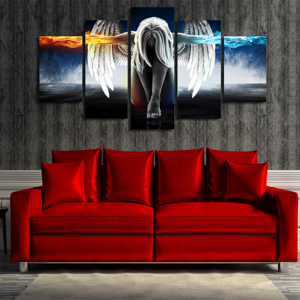 mystic angel fire and ice 5 piece wall art canvas. Black Bedroom Furniture Sets. Home Design Ideas