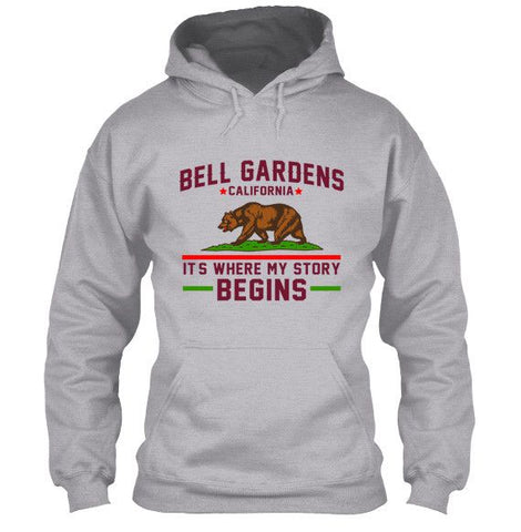 Bell Gardens California T-Shirt It's Where My Story Begins Grizzly Bear Apparel - Love Family & Home