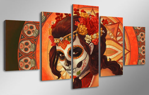 Day of the Dead Face Skull Face 5-Piece Wall Art Canvas - Love Family & Home