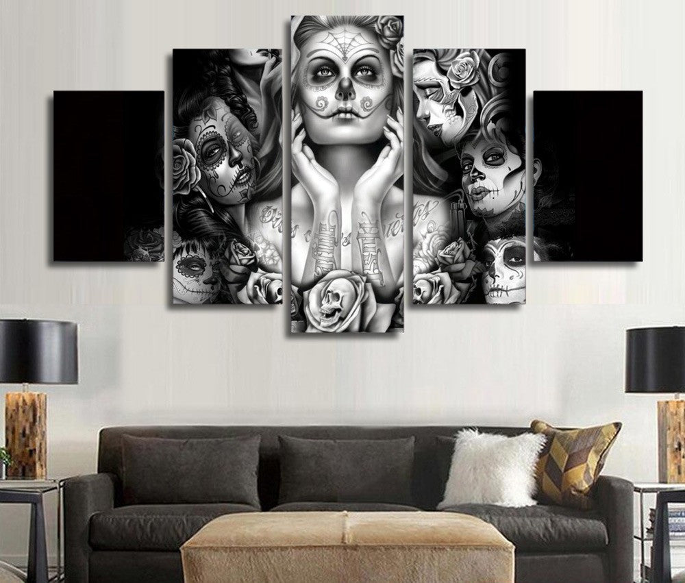 Day Of The Dead Face Ladies 5 Piece Wall Art Canvas