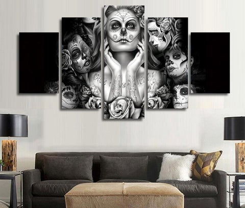 Image of Day of the Dead Face Ladies 5-Piece Wall Art Canvas - Love Family & Home