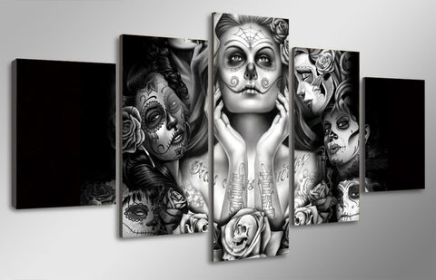 Day of the Dead Face Ladies 5-Piece Wall Art Canvas - Love Family & Home