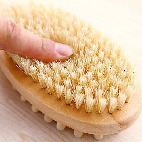 Image of Dual Head DRY Body Brush Wood Long Handle For Smoother Skin - Love Family & Home