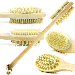 Dual Head DRY Body Brush Wood Long Handle For Smoother Skin - Love Family & Home