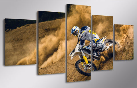 Image of Dust And Dirt Motocross MX Dirt Bike 5-Piece Canvas Wall Art Hanging - Love Family & Home