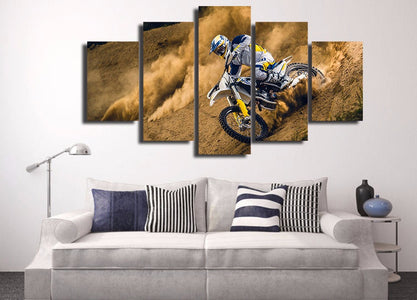 Dust And Dirt Motocross MX Dirt Bike 5-Piece Canvas Wall Art Hanging - Love Family & Home