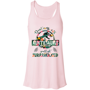 Don't Mess With Auntiesaurus Women's Flowy Racerback Tank - Love Family & Home