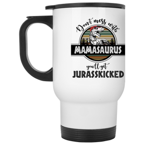 Mamasaurus Stainless Steel 14 oz White Travel Mug - Love Family & Home