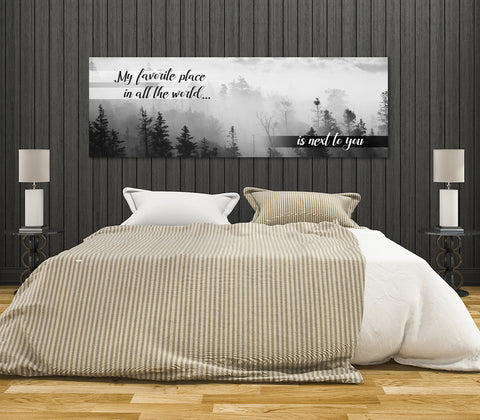 Image of My Favorite Place In All The World Is Next To You Framed Canvas Wall Art Couples Above The Bed Decor - Love Family & Home
