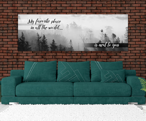 My Favorite Place In All The World Is Next To You Framed Canvas Wall Art Couples Above The Bed Decor - Love Family & Home